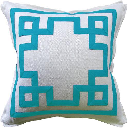 #9660 Fretwork Pillow-Turquoise