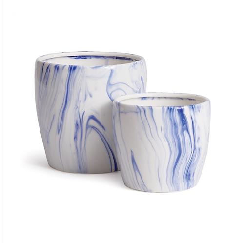 Blue & White Marbelized Pots