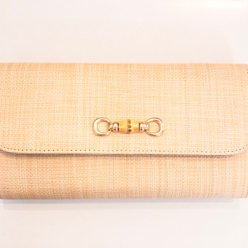 #11982 Straw Bamboo Toggle Clutch