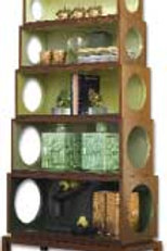 #265 Green & Walnut Stackable Circles Bookcase