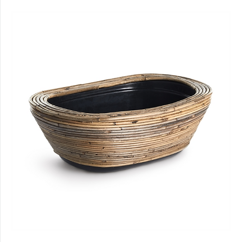 #10480 Wrapped Dry Basket Oval Planter