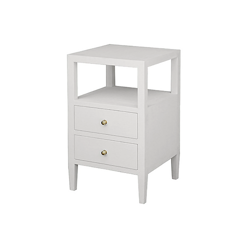 #8425 White Two Drawer Side Table