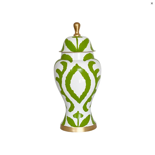 #11096 LG Ikat Ginger Jar (Green)