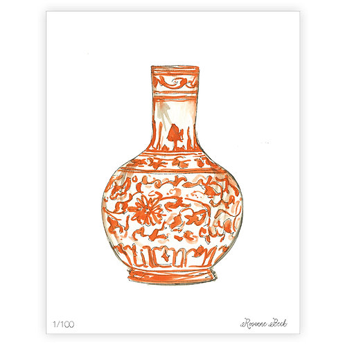 #10193 Orange Chinoiserie Vase Print