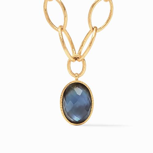 #10698 Fleur-de-Lis Statement Necklace Gold Iridescent Slate Blue Reversible