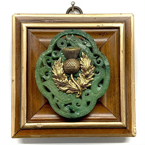 #11523 Wooden Frame w/ Thistle on Jade