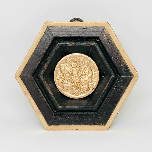 #9840 Wooden Frame with Athena Coin