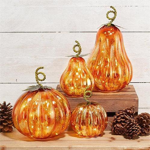 LED Glass Pumpkins & Gourds