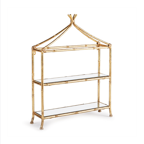 #10431 Gold 2-Tiered Curio Shelf