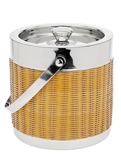 #11997 Rattan & Silver Ice Bucket