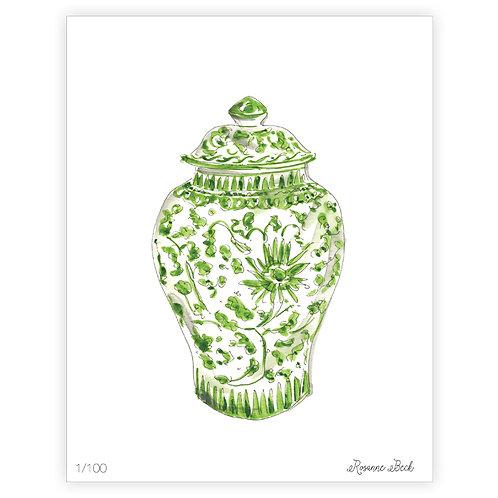 #10189 Green Ginger Jar Print