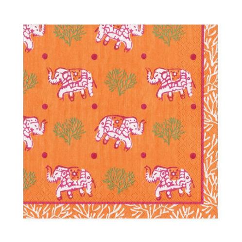 #11728 Cocktail Napkins (Batik Elephants Orange)