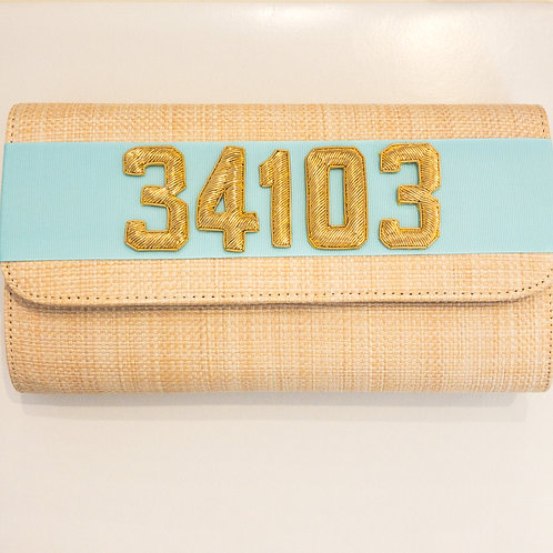 #19977 34103 Straw Tiffany Blue Clutch