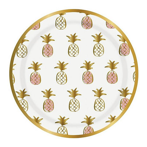 #9995 White Pineapple Paper Plates