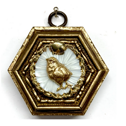 #9862 Gilt Frame with Chick on Brooch