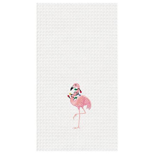 #10680 Flamingo w/Christmas Lights Towel