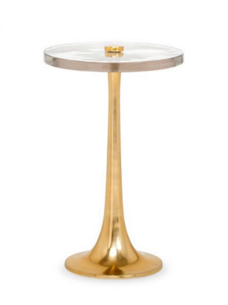 #9091 Polished Brass and Glass Table