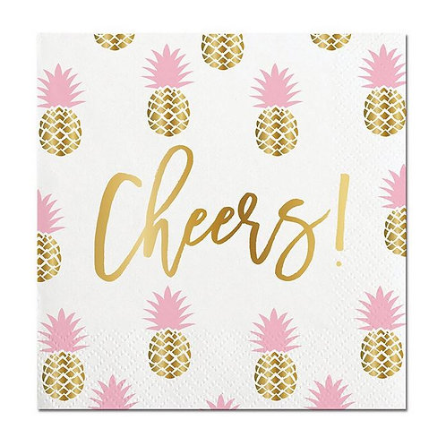 #10016 Cheers Pineapple Cocktail Napkins