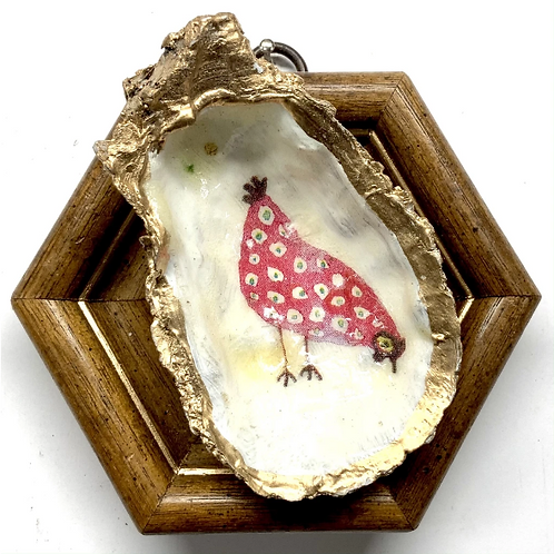 #11510 Wooden Frame w/ Funky Chicken Oyster Shell