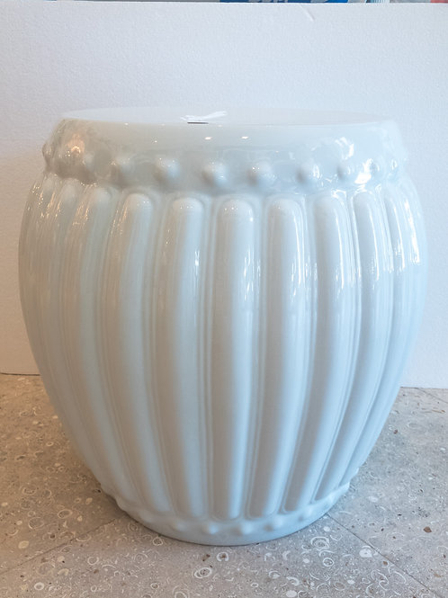 #11624 White Fluted Stool