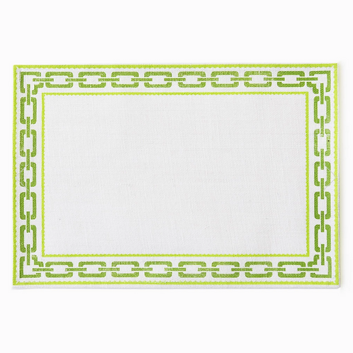 #8108 Chain Green Jute Placemat, Set of 4