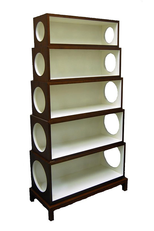 #209 White & Walnut Stackable Circles Bookcase