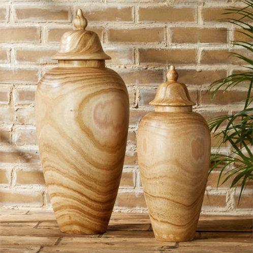 Wood Temple Jar