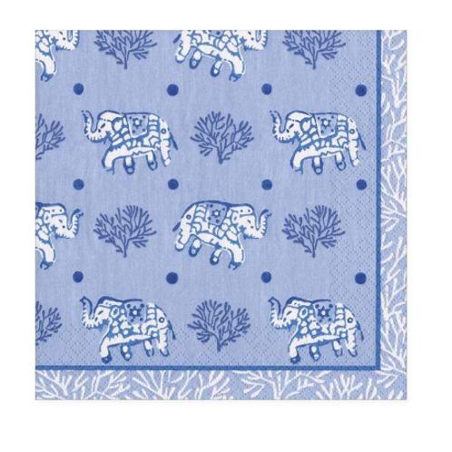 #11729 Cocktail Napkins (Batik Elephants Blue)