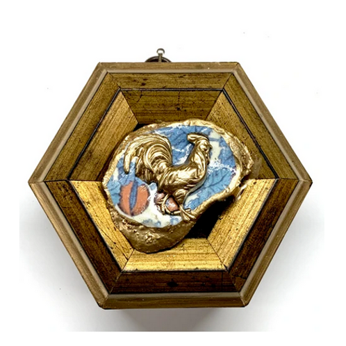 #10834 Gilt Frame with Rooster on Oyster Shell