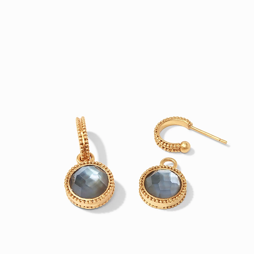 #10404 Fleur-de-List Hoop & Charm Earring (Slate Blue)