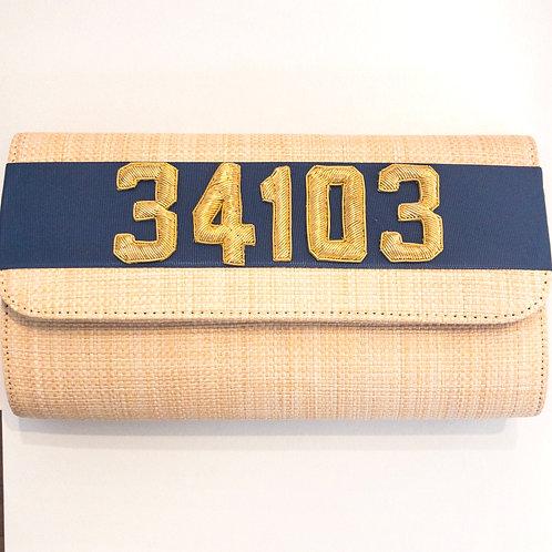 #19979 34103 Straw Navy Clutch