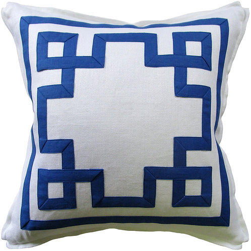 #9659 Fretwork Pillow-Royal Blue