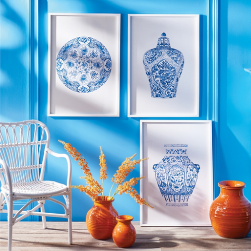 Assorted Blue & White Jar Framed