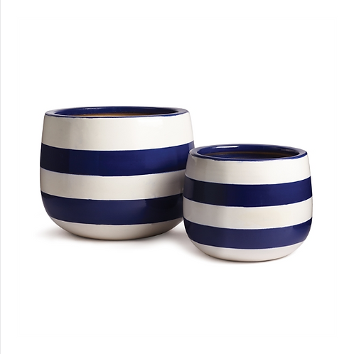 Blue & White Striped Pots