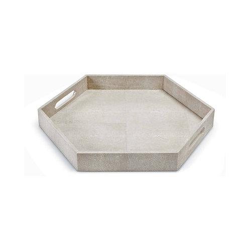 #10570 Hexagonal Faux Shagreen Tray (Ivory Grey)
