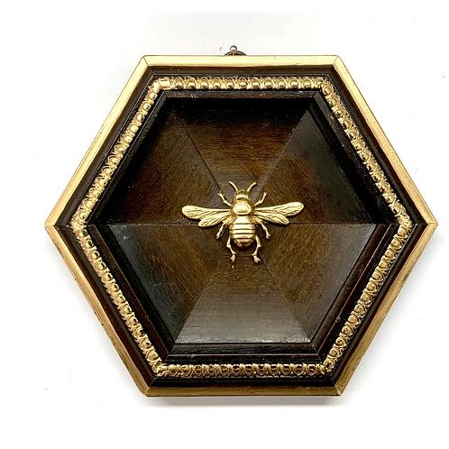 #9854 Hexagonal Wooden Frame with Italian Bee