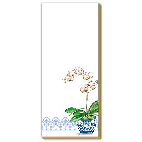 #10168 Blue Potted Orchid Skinny Notepad