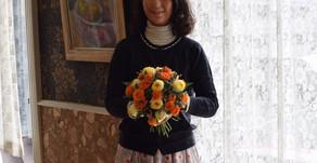 フラワー装飾技能検定3級レッスン、「花束」りほさんの作品