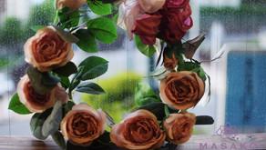 MASAKOフラワーデザイン趣味で楽しむフラワーレッスンで「アーティフィシャルフラワー」夏限定で「バラのリース作り」レッスンをただいま実施しております♬