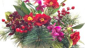 MASAKOフラワーデザイン、趣味で楽しむフラワーレッスン アーティフィシャルフラワーコース、あきこさんの作品「お正月アレンジ」をご紹介いいたします。