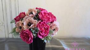 NFDディプロマ、アーティフィシャルコース参加作品「バラとアネモネの花束」