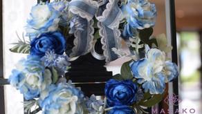 趣味で楽しむフラワーレッスン、アーティフィシャルフラワー上級コースで「バラのリース」を作成なさったあきこさんの作品をご紹介いたします。
