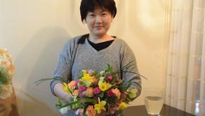 NFDフラワーデザイナー1級検定レッスン、試験テーマ「ほぐれた装飾的花束」