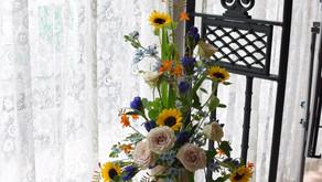 NFDフラワーデザイナー講師新規登録コース、テーマ①「新古典」②「高く上昇する円錐形」③「モダン装飾的花束」さとこさんの作品