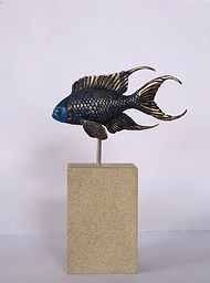 art bronze sculpture Blue Soldier Fish by  Catherine Anderson
