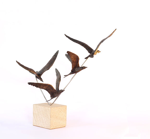 art bronze sculpture of Diving Terns by Catherine Anderson
