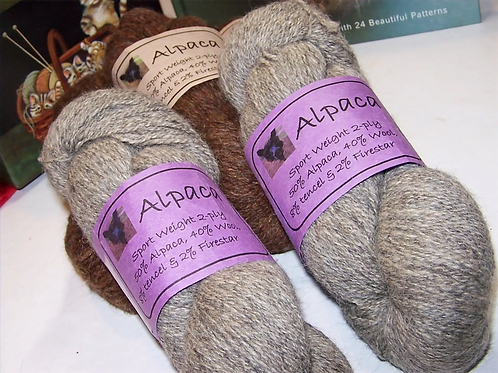 Alpaca Blend Yarn 50% Alpaca, 40% Wool, 8% Tencel, 2% Firestar