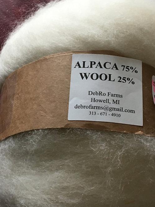 Alpaca Roving - White 75% Alpaca & 25% Merino Wool
