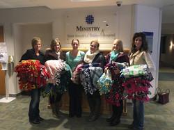 St. Joseph's Children's Hospital tie blanket donation
