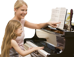 piano student and teacher in music lesson